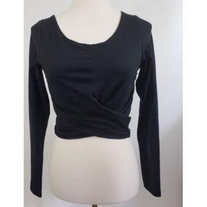 TOBI Black Cropped Wrap Long Sleeve Top